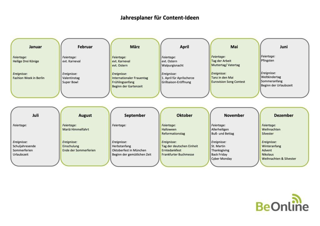 Jahresplaner für Content-Ideen